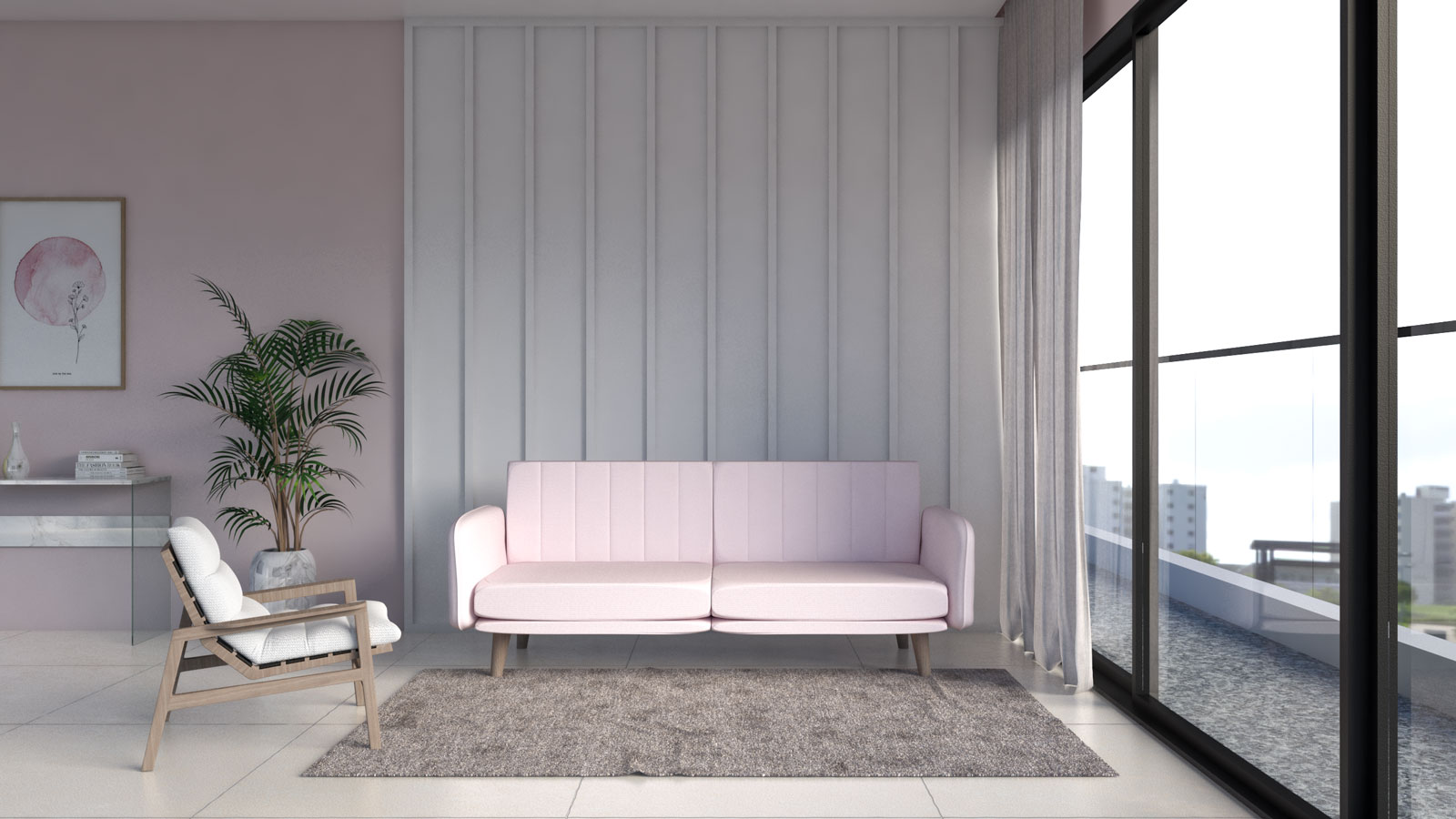Plain modern brown area rug with pink sofa in living room