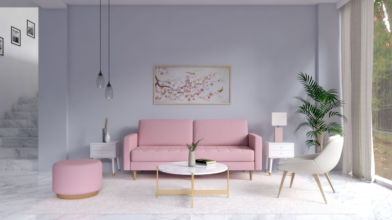 Silverish gray wall with pink furniture