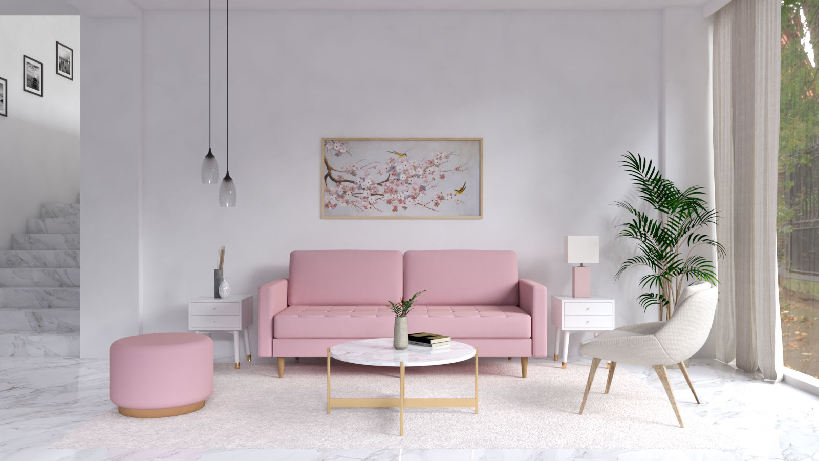 White wall color with pink couch