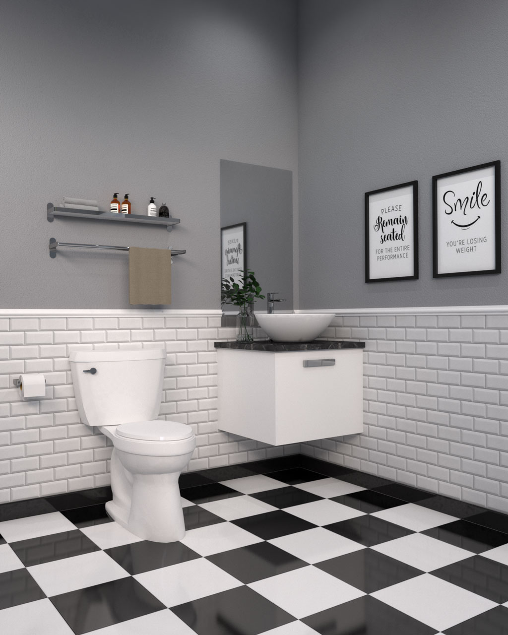 Black and white checker style tile floor with white and gray walls in bathroom