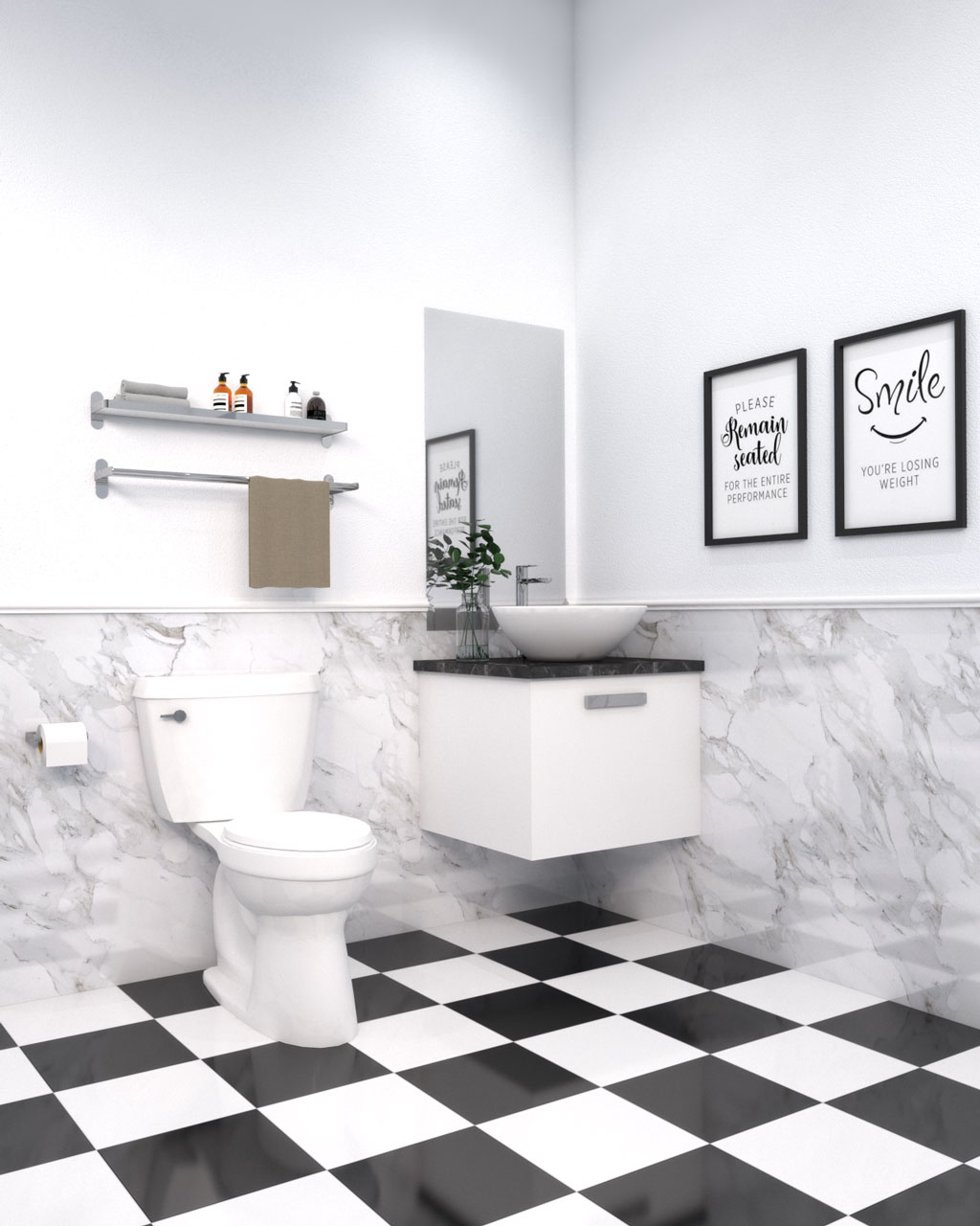 Black and white bathroom tile flooring with white walls