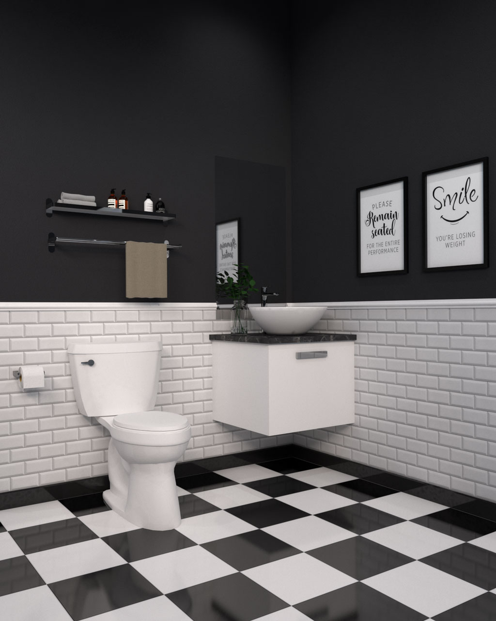 Bathroom ideas with black and white flooring and black and white walls
