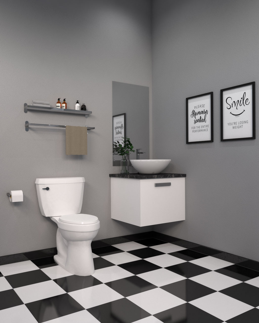 Black and white tile in bathroom with gray walls