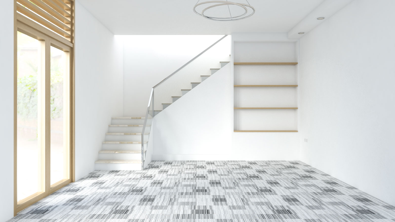 Black and white carpet with white walls