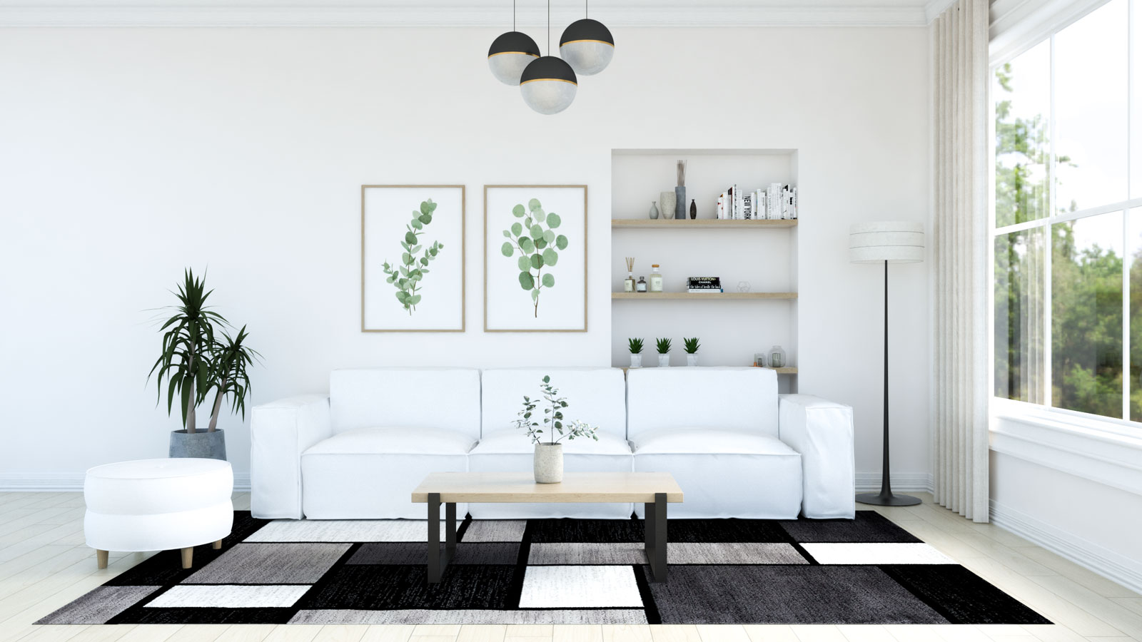 Black and white rug with white couch in living room
