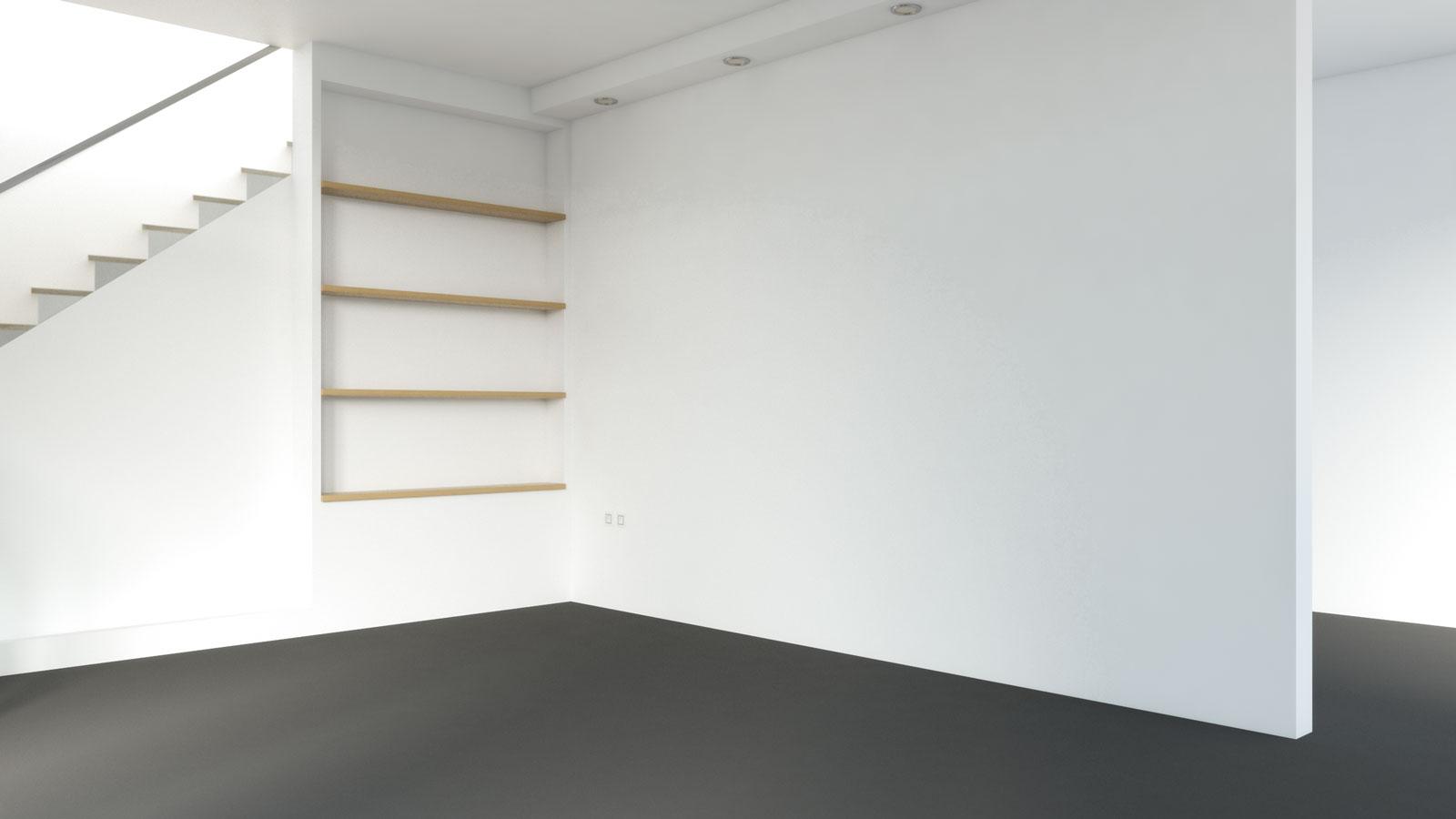 Black carpet with white walls