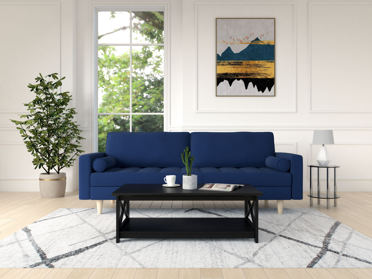 Blue couch with a black table