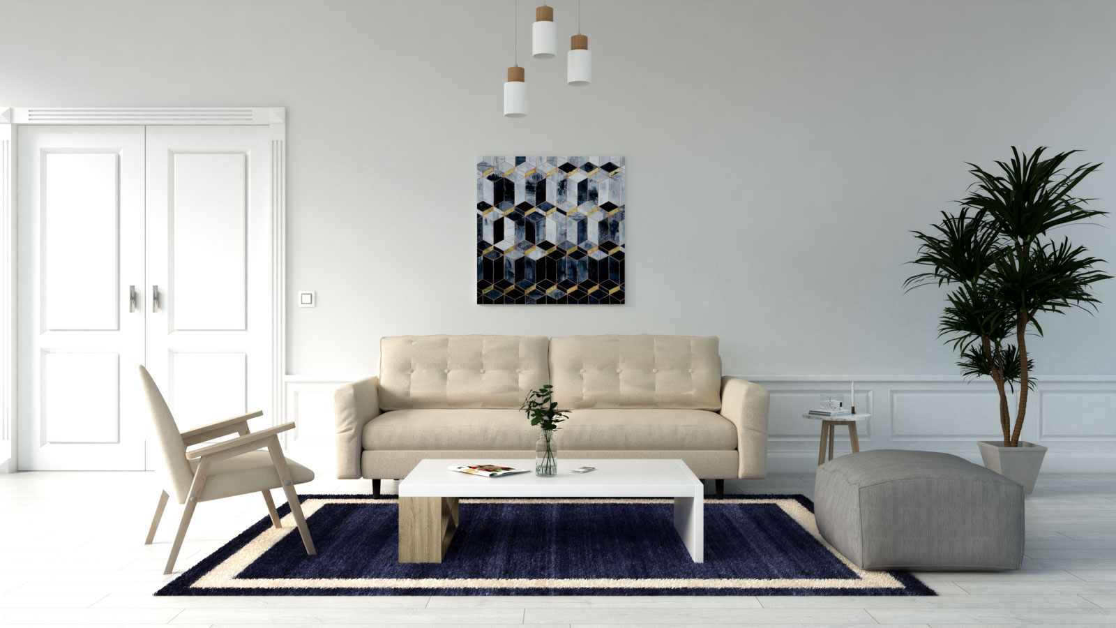 Blue and cream rug with beige couch