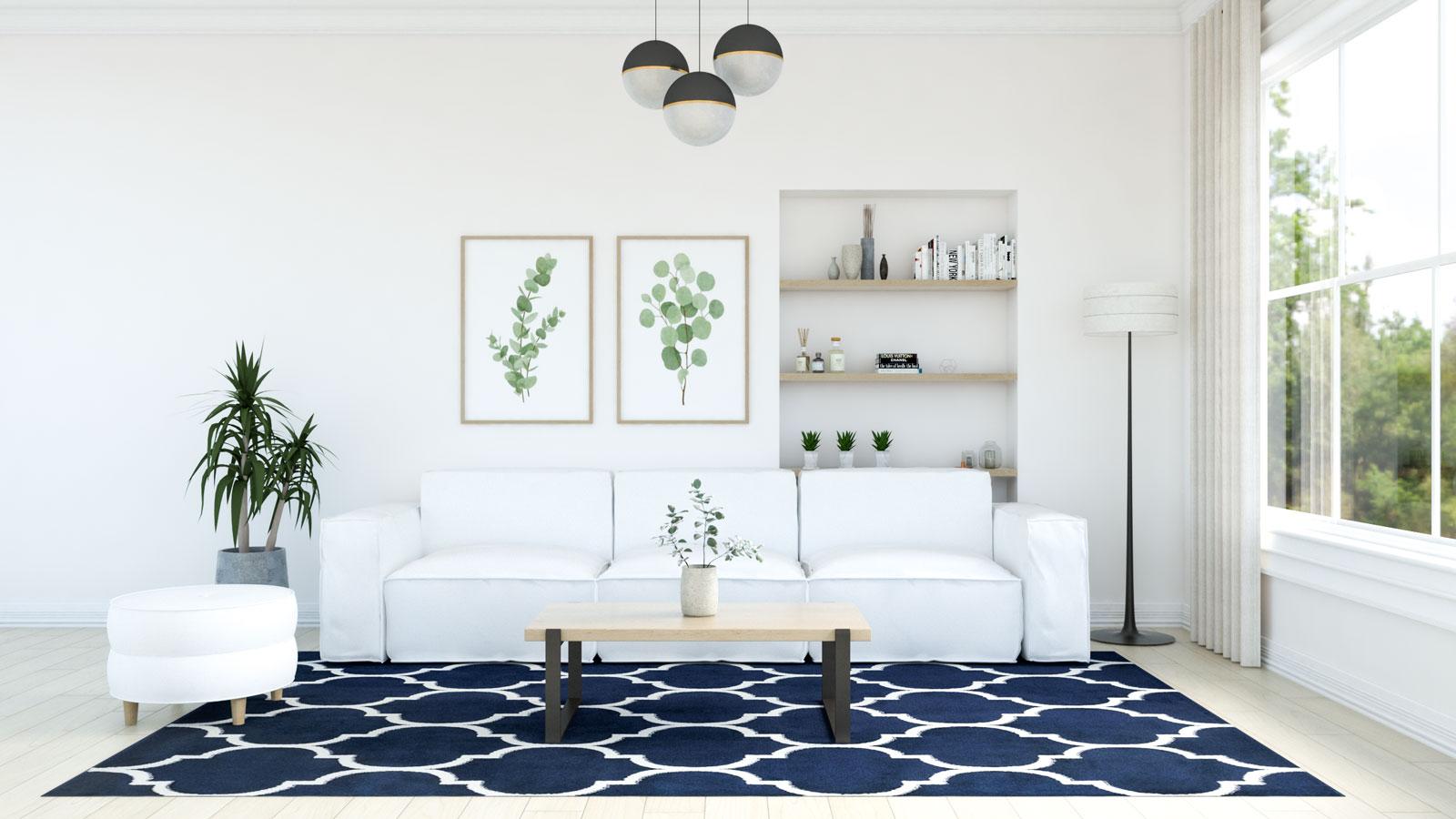 Blue and white trellis rug with white sofa