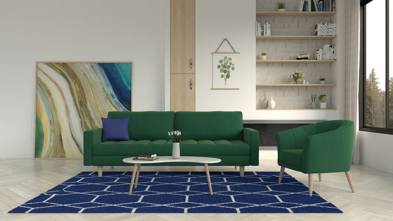 Blue rug with green sofa