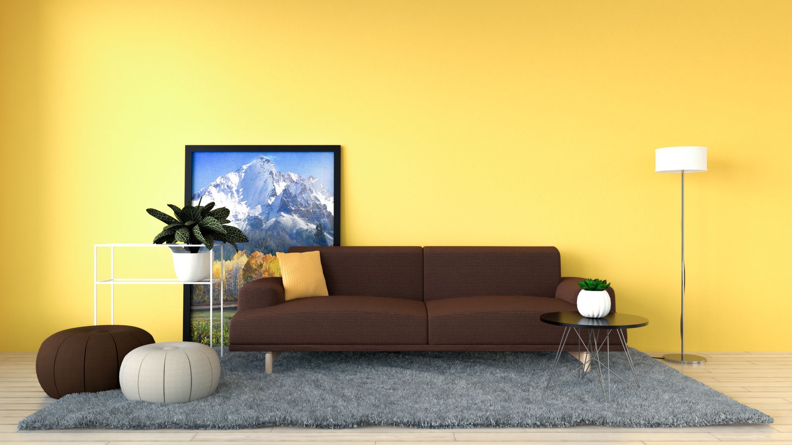 Tuscan yellow wall with brown sofa