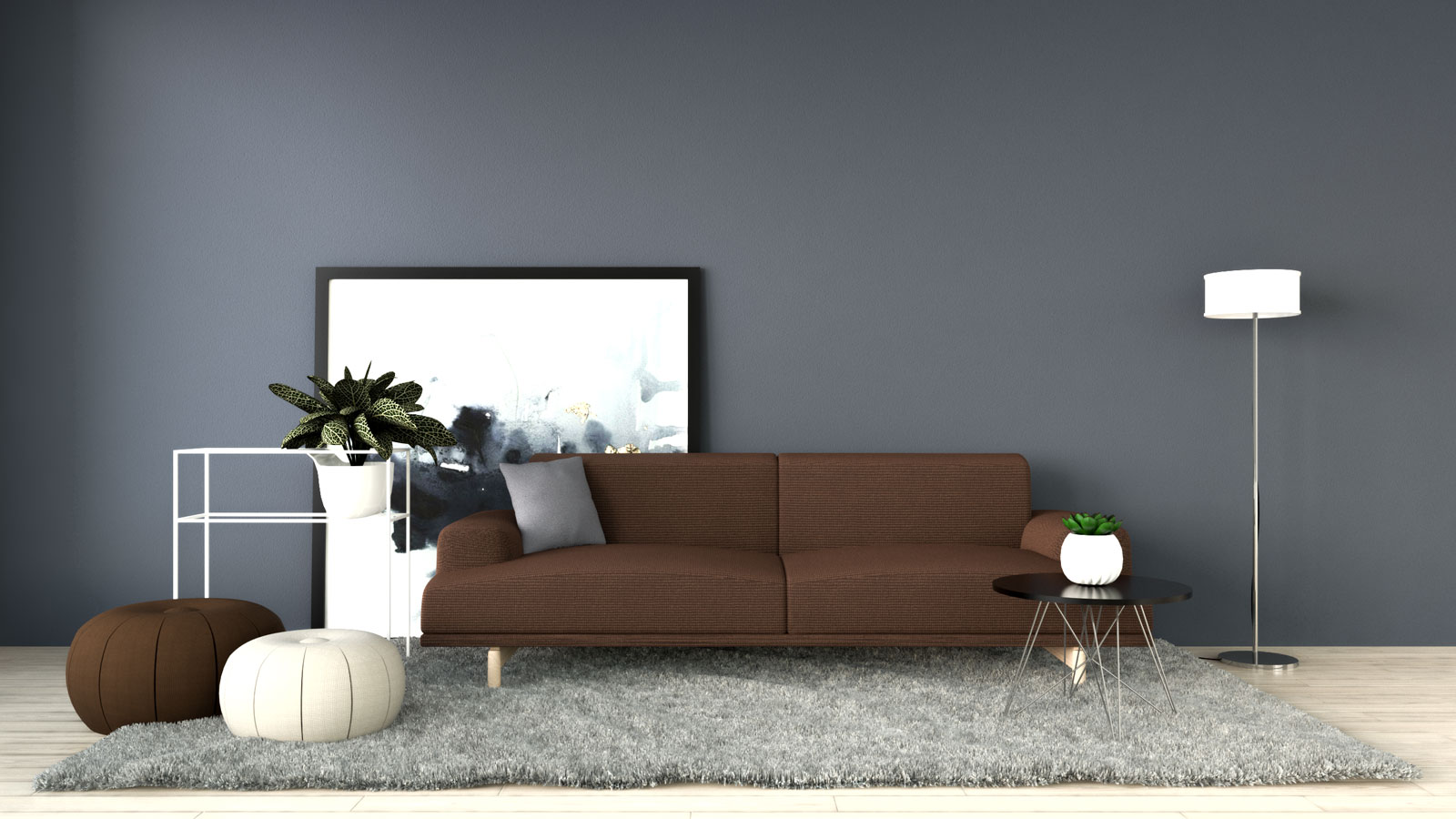 Dark gray/mineral gray with brown couch