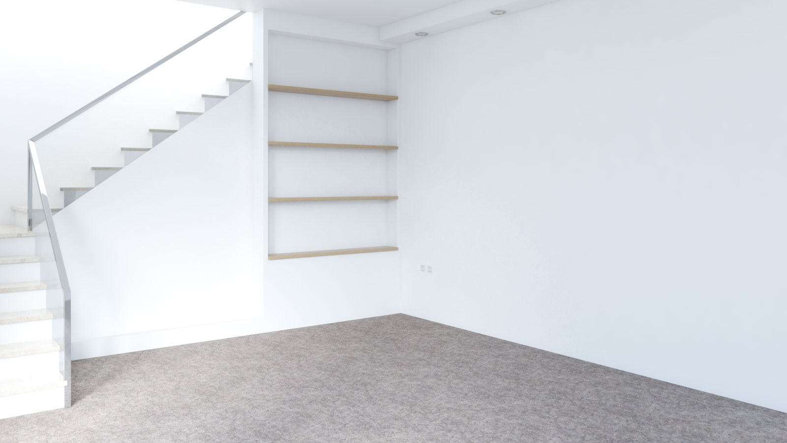 Dark brown carpet with white walls