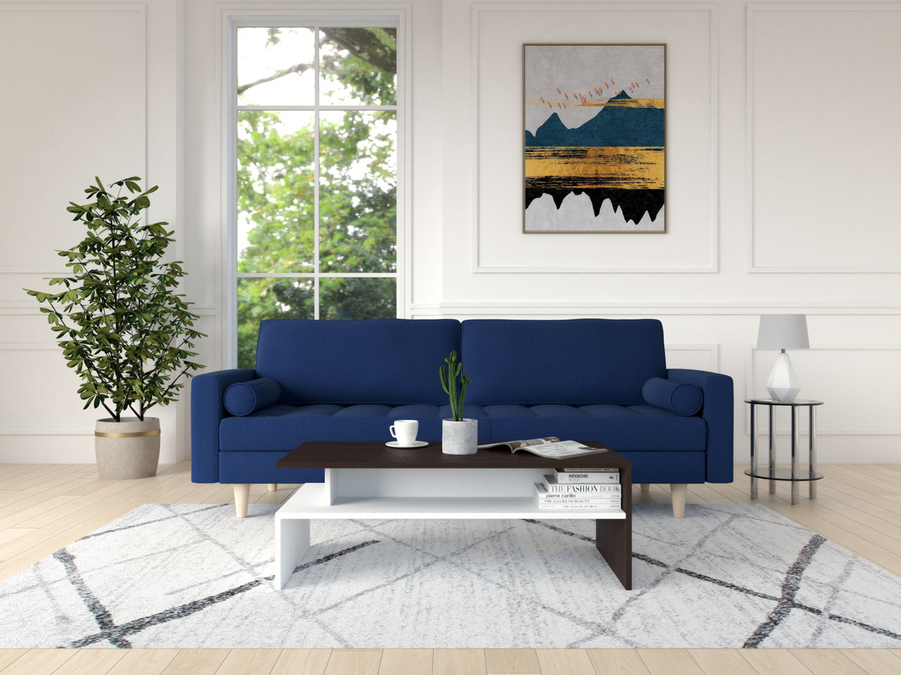 Dark brown and white coffee table with a blue sofa