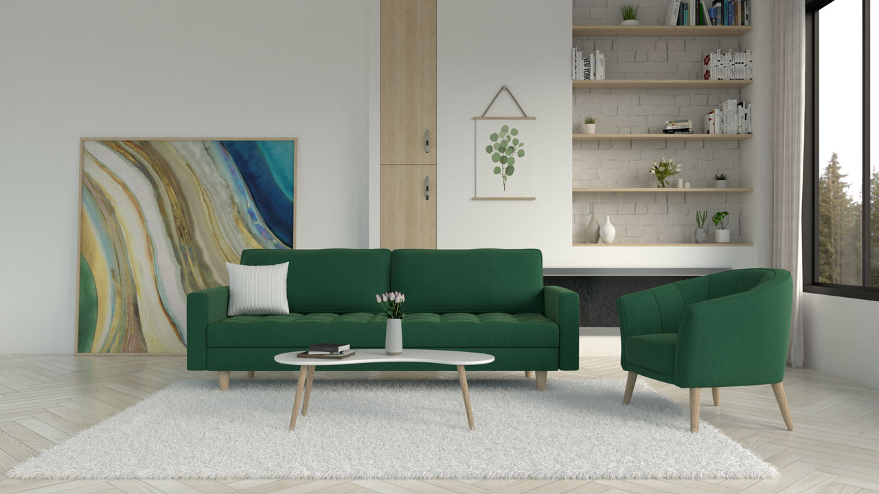 White rug with green couch