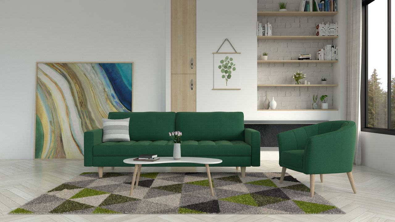 Green and gray rug with a green couch