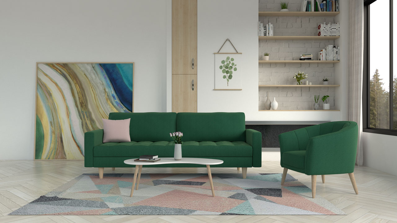 Green and pink rug with green couch
