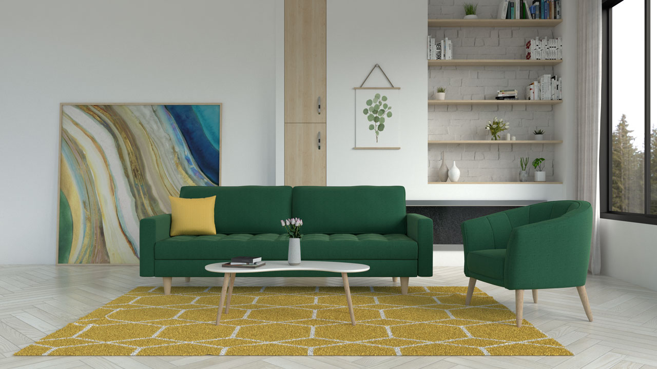 Yellow area rug with a green sofa