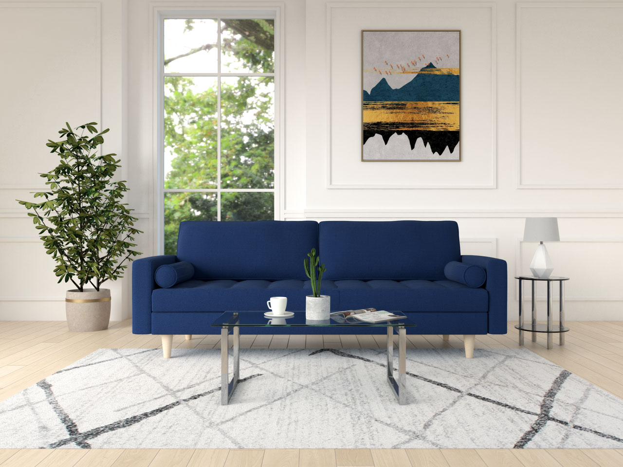 Blue couch with a glass coffee table
