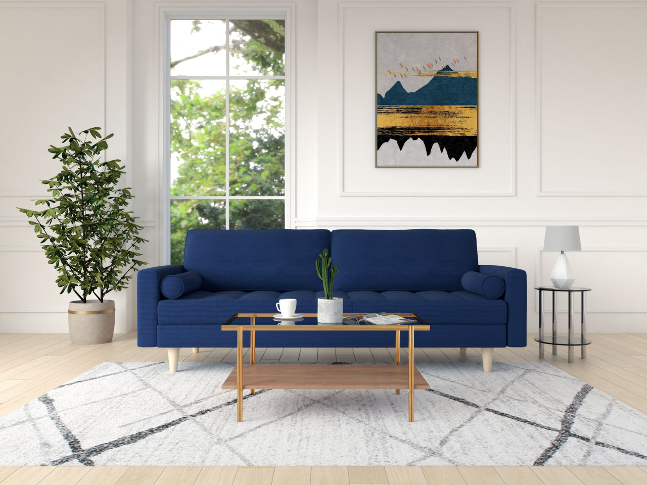 Modern mid-century style coffee table with blue couch
