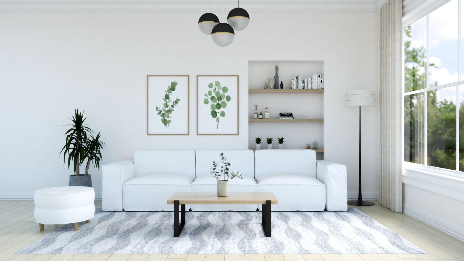 Gray and white rug with white couch