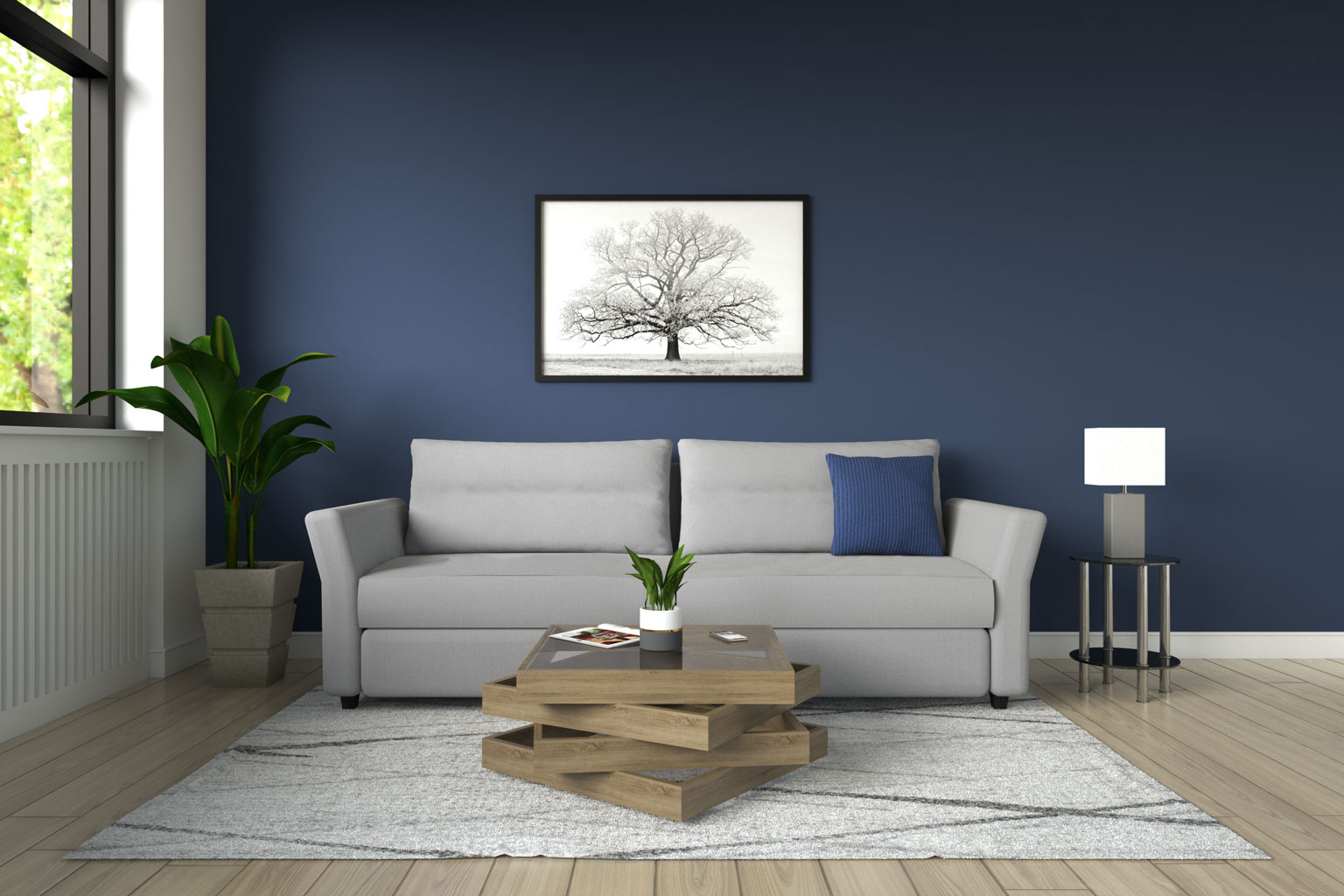 Gray sofa with blue walls