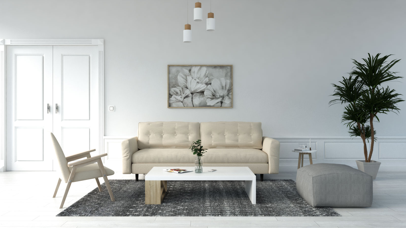 Gray rug with beige couch