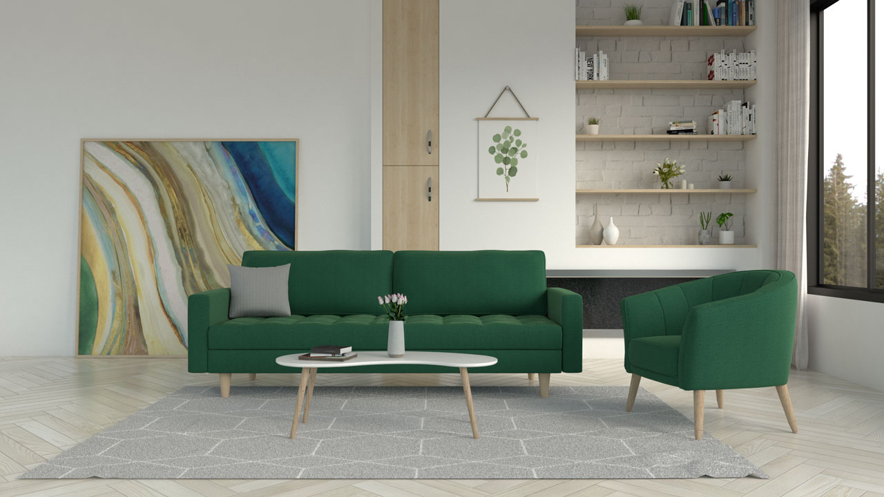 Gray and white rug with green couch