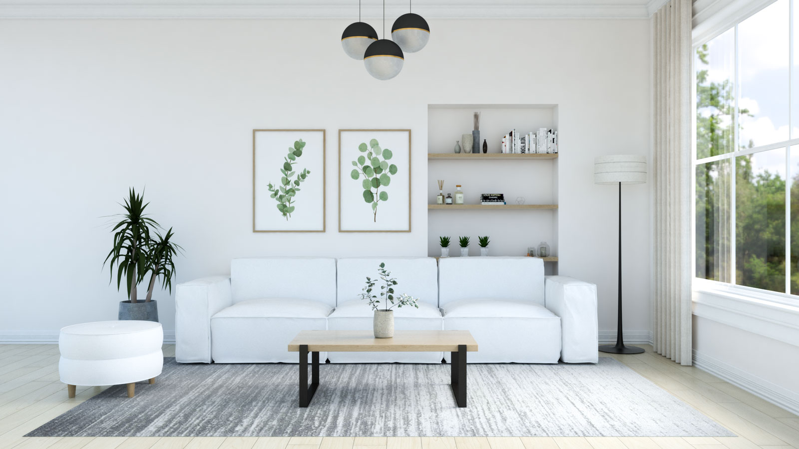 Gray rug with white couch in living room