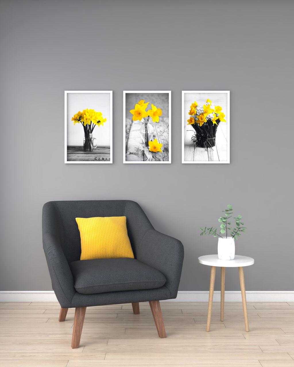 Yellow mustard accent with gray walls