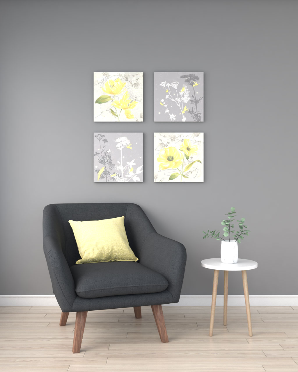 Light yellow accent with gray wall