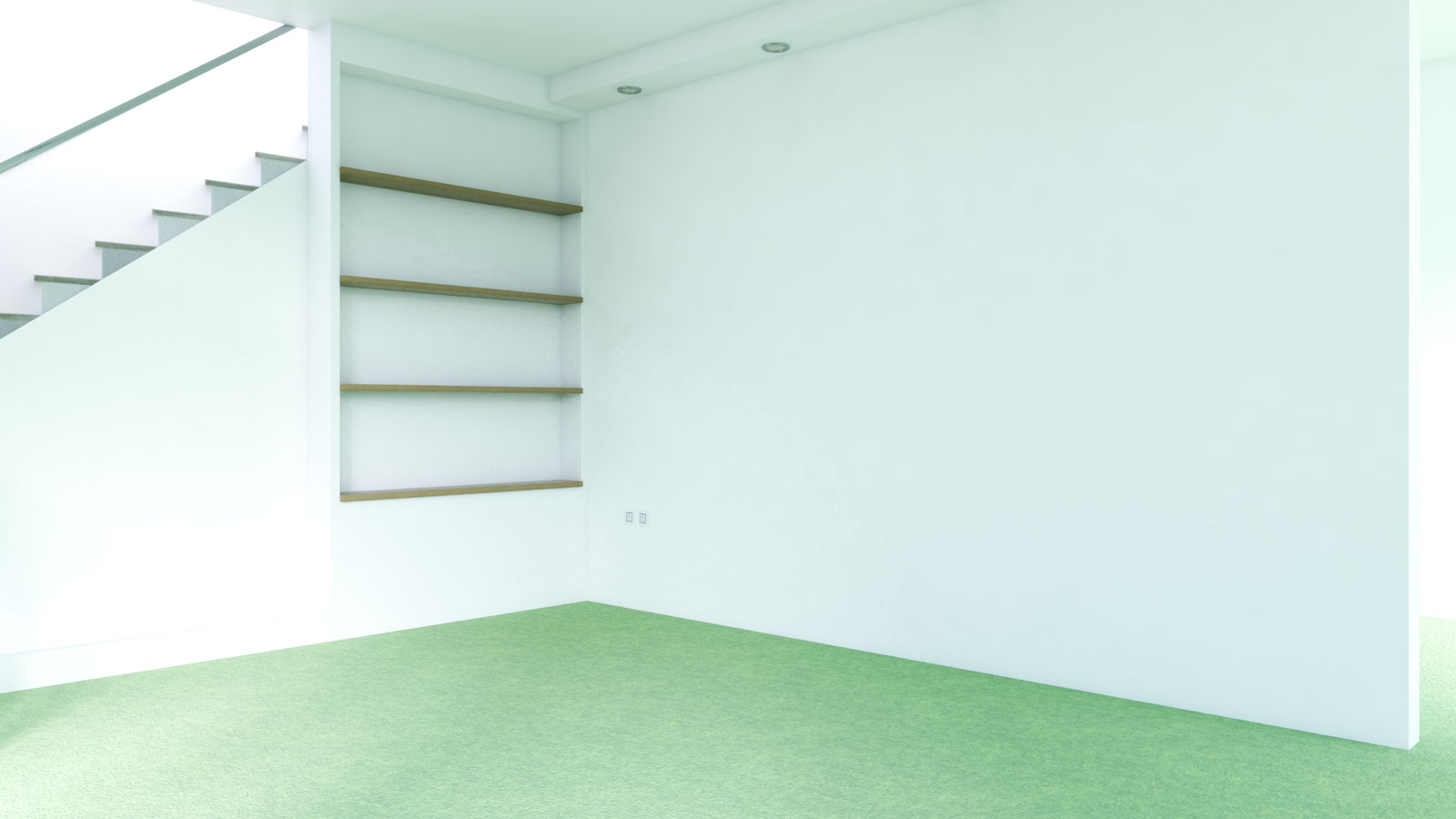 Green carpet with white walls