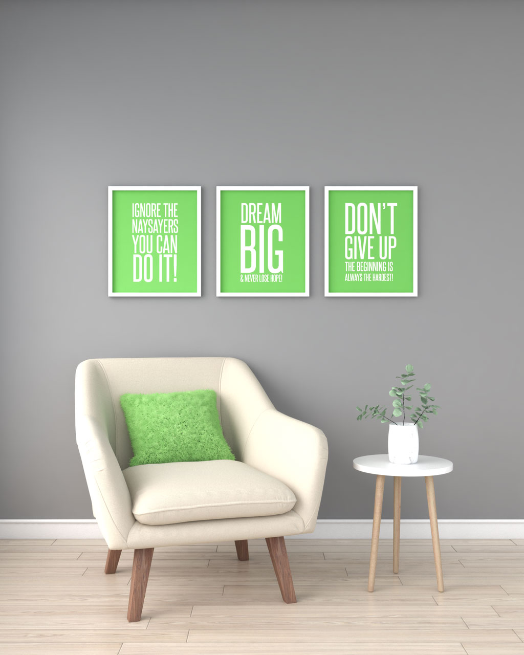 Lime green accent with gray walls
