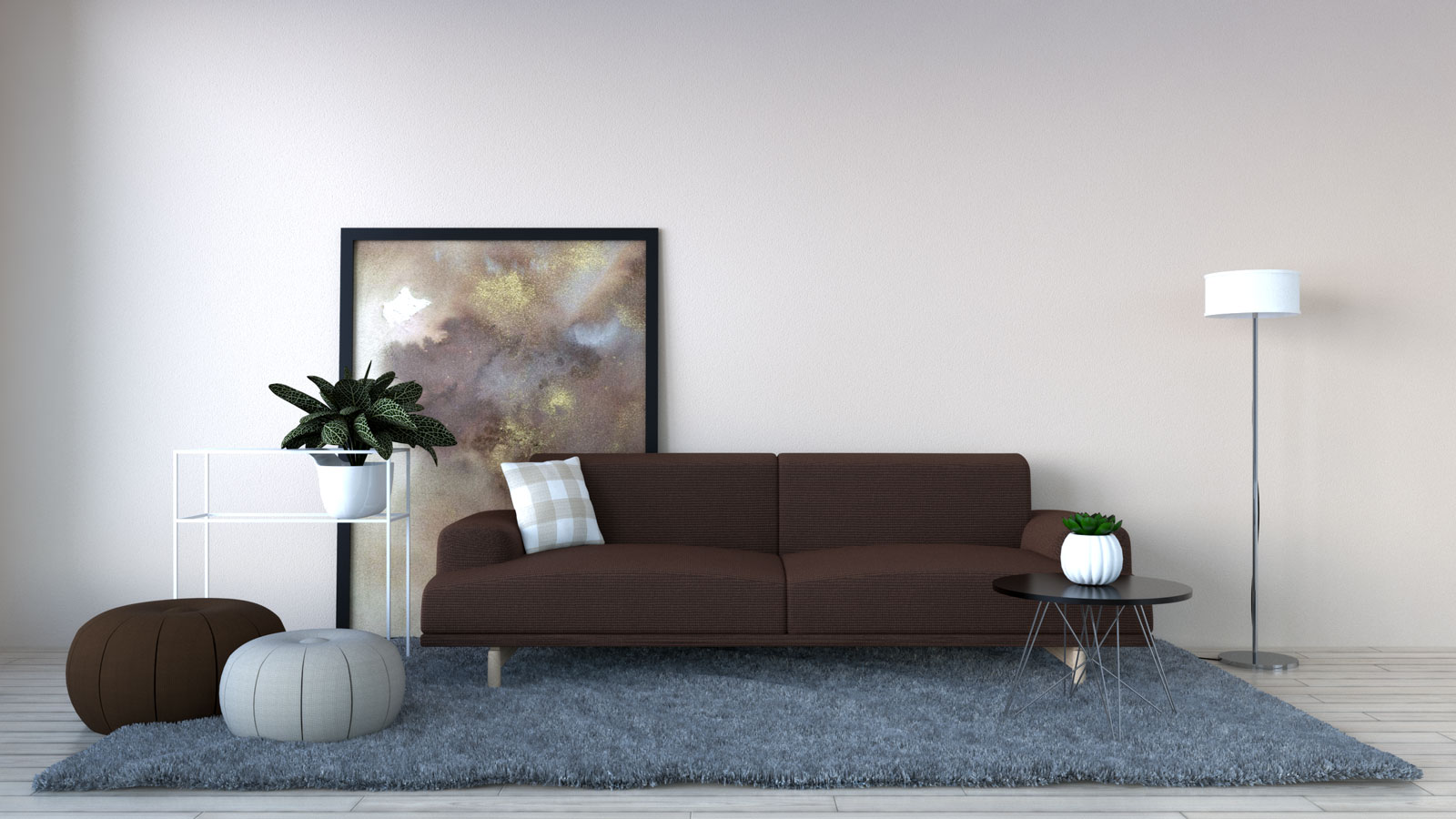 Light beige wall with brown sofa