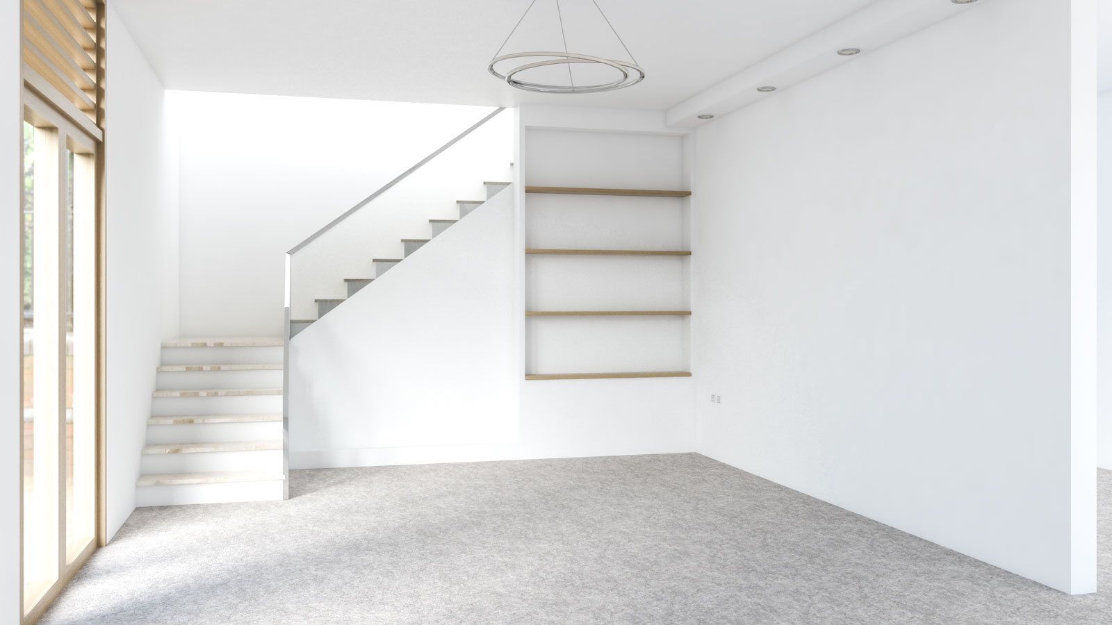 Light brown carpet with white walls