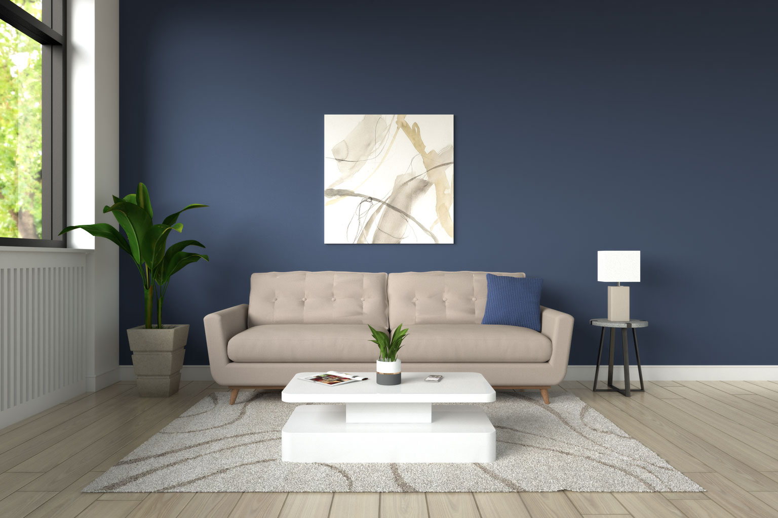 light brown couch with blue wall