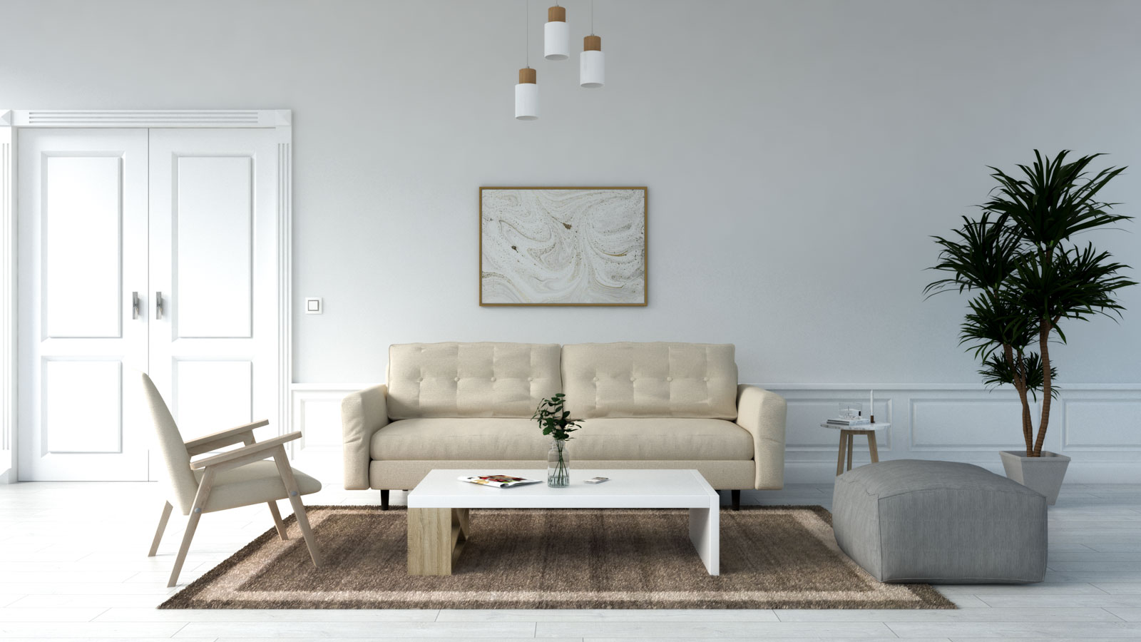 Light brown rug with beige sofa