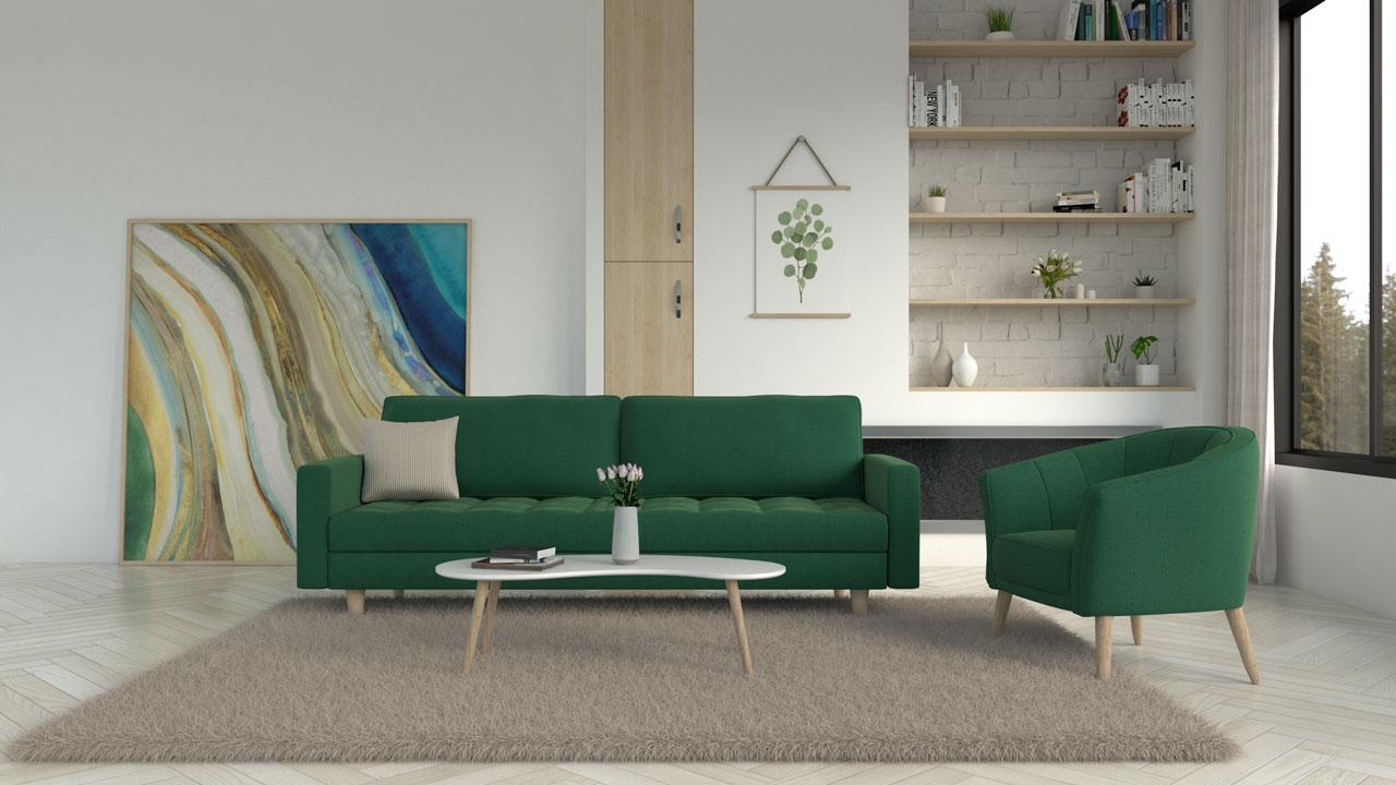 Light brown rug with green sofa