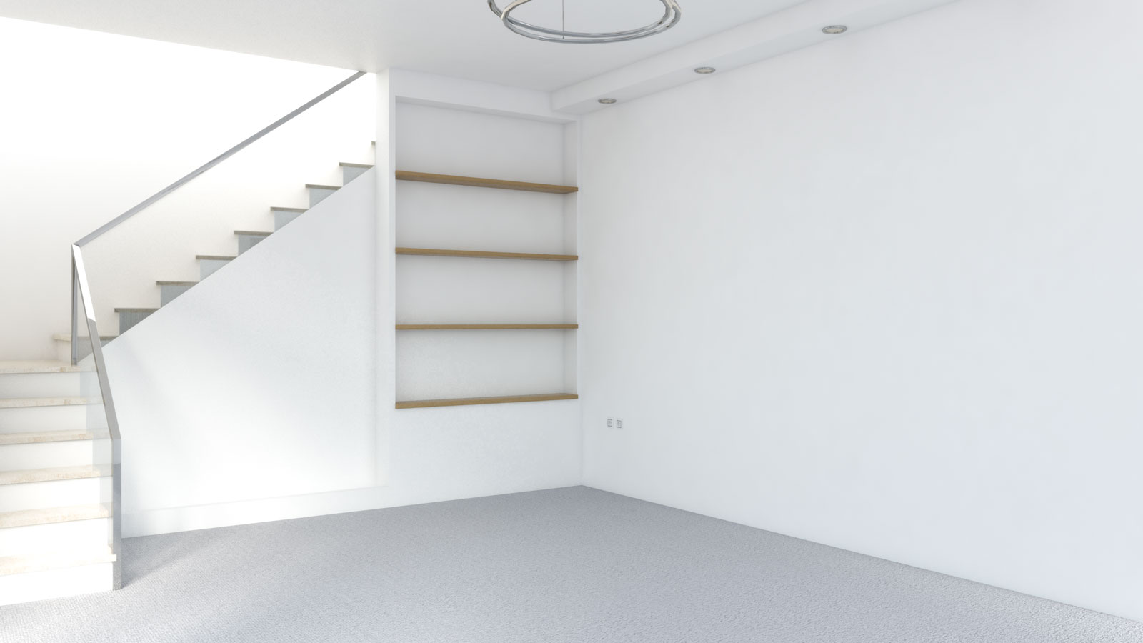 Light gray carpet with white walls