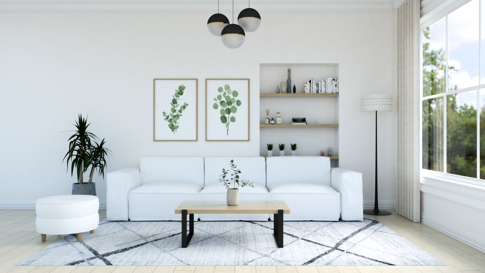 Living room with Light gray rug and white couch