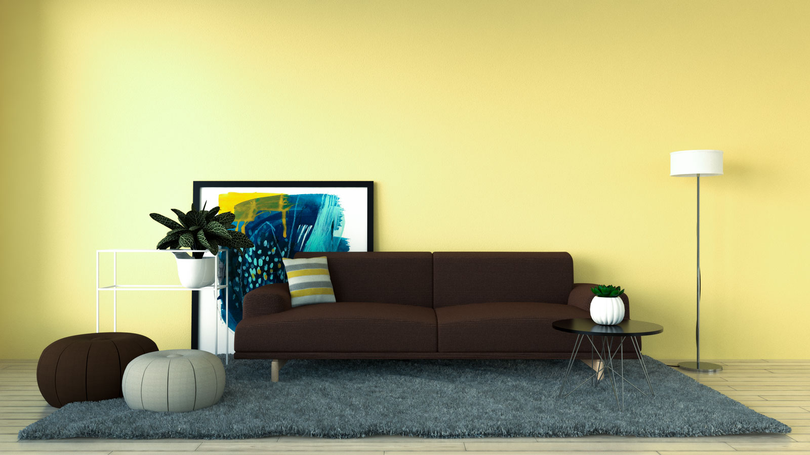 Pale yellow wall with brown couch in living room