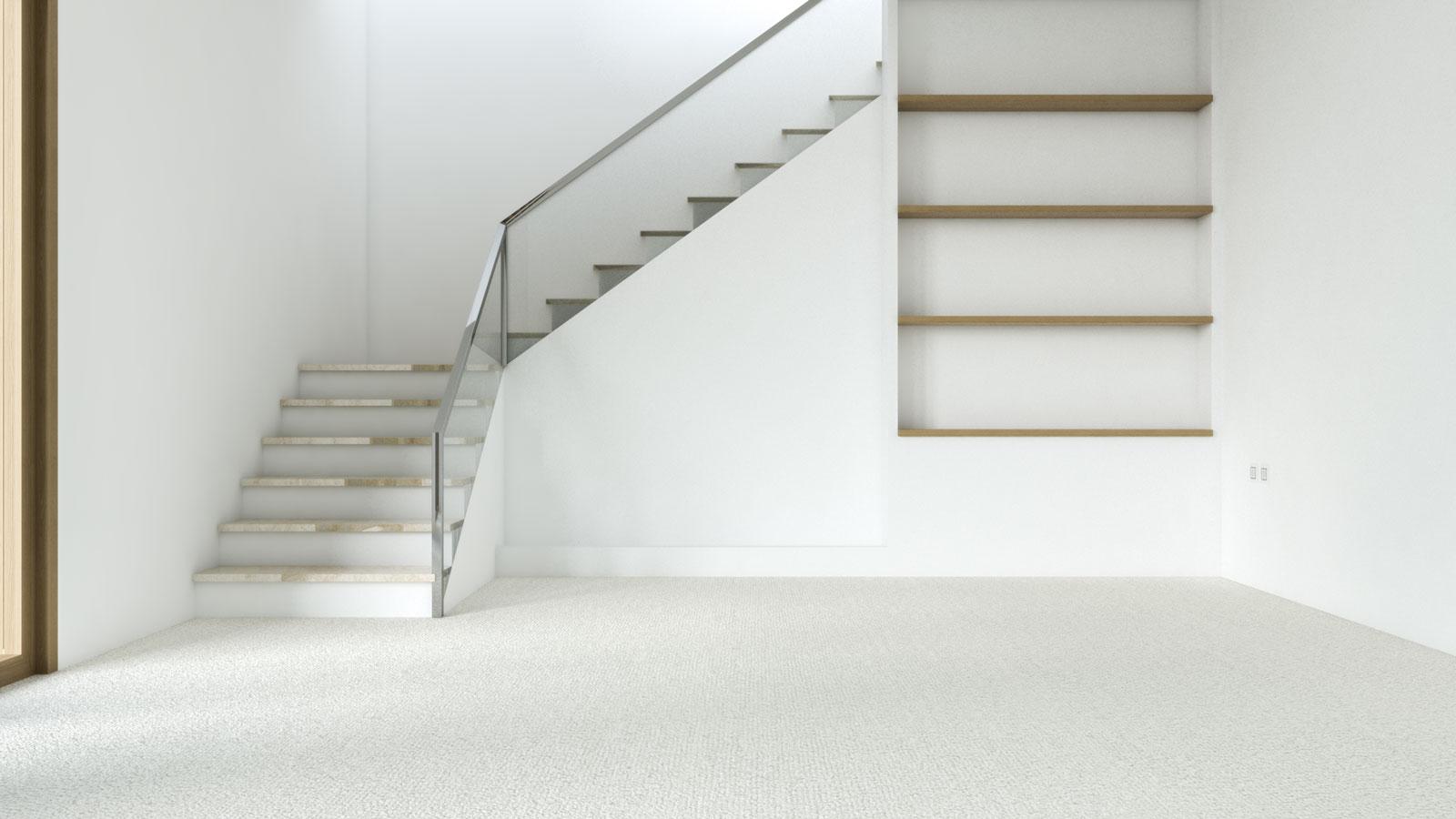 Cream carpet with white walls
