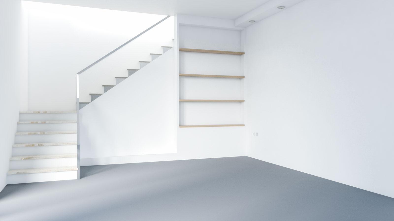 Medium gray carpet with white walls