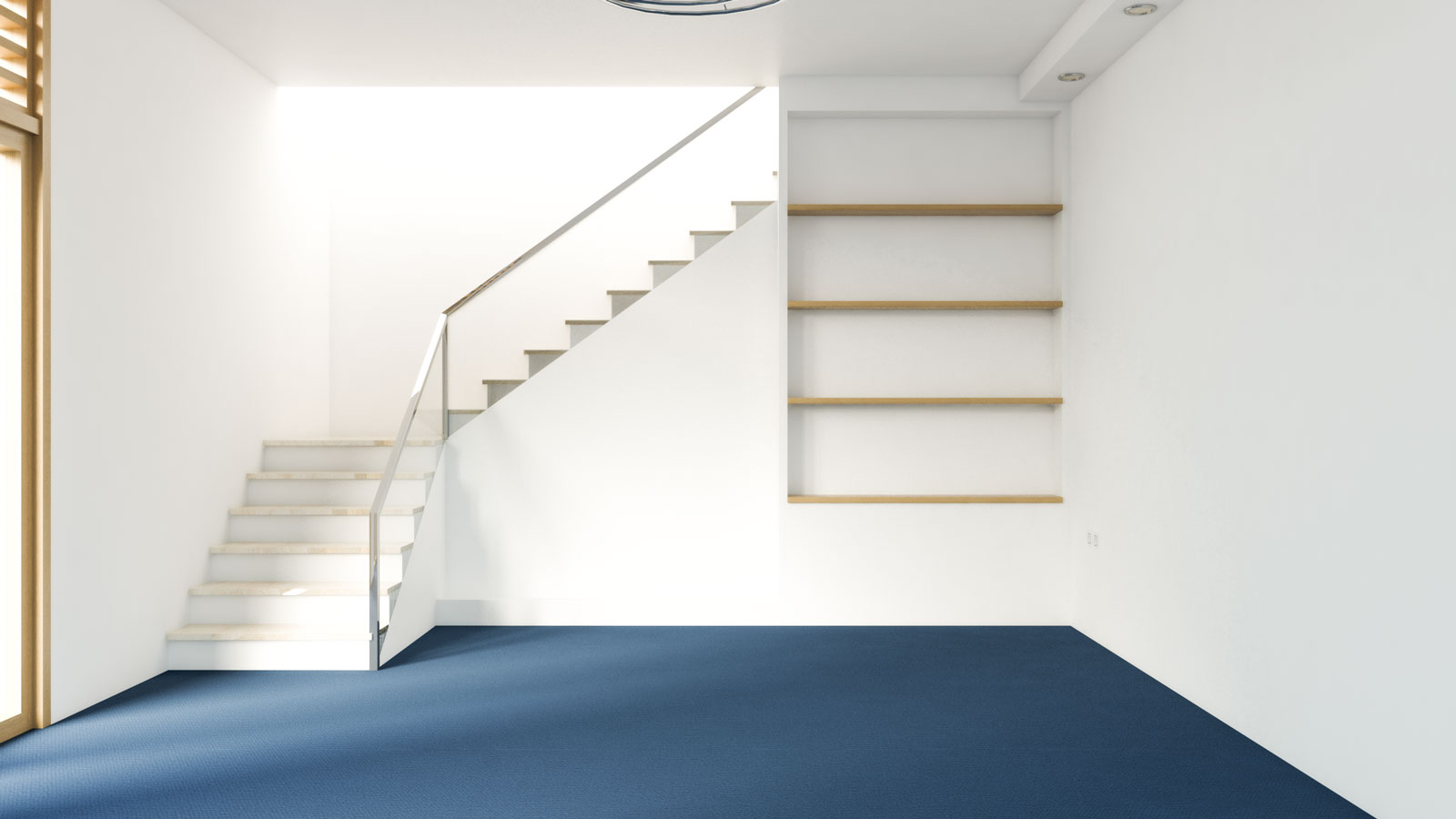 Navy blue carpet with white walls