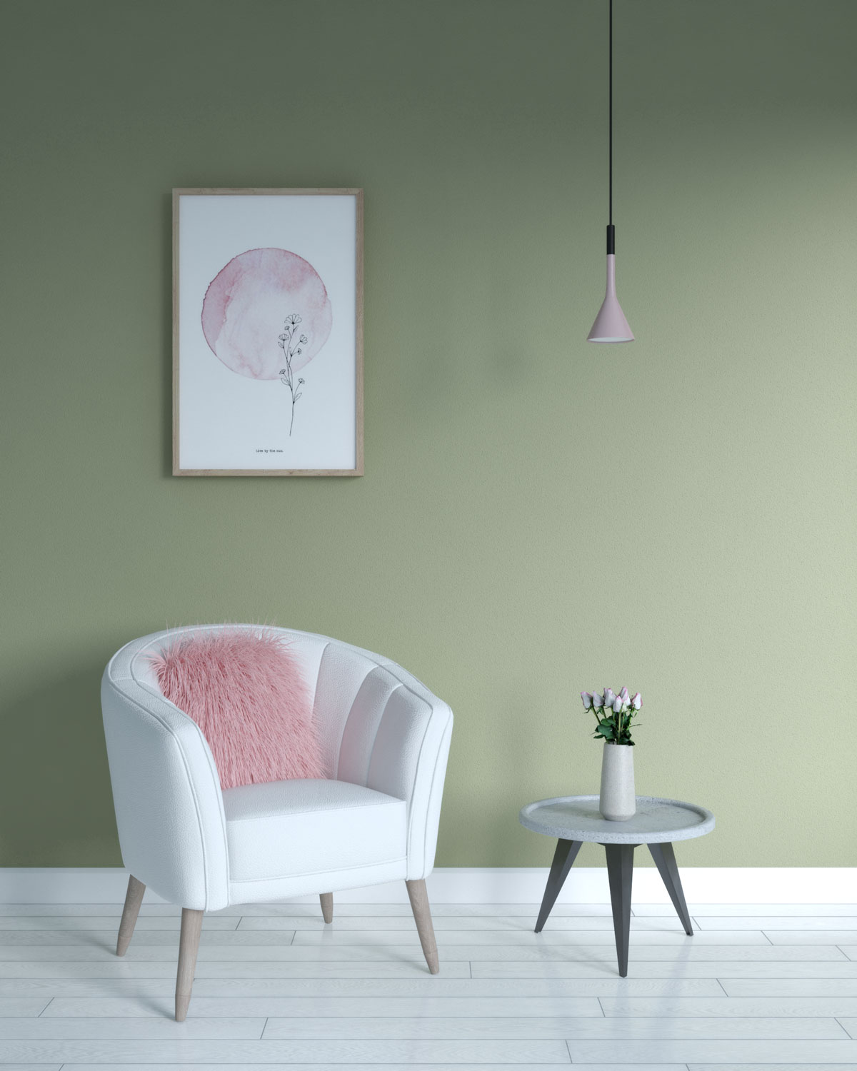Olive green wall with blush pink