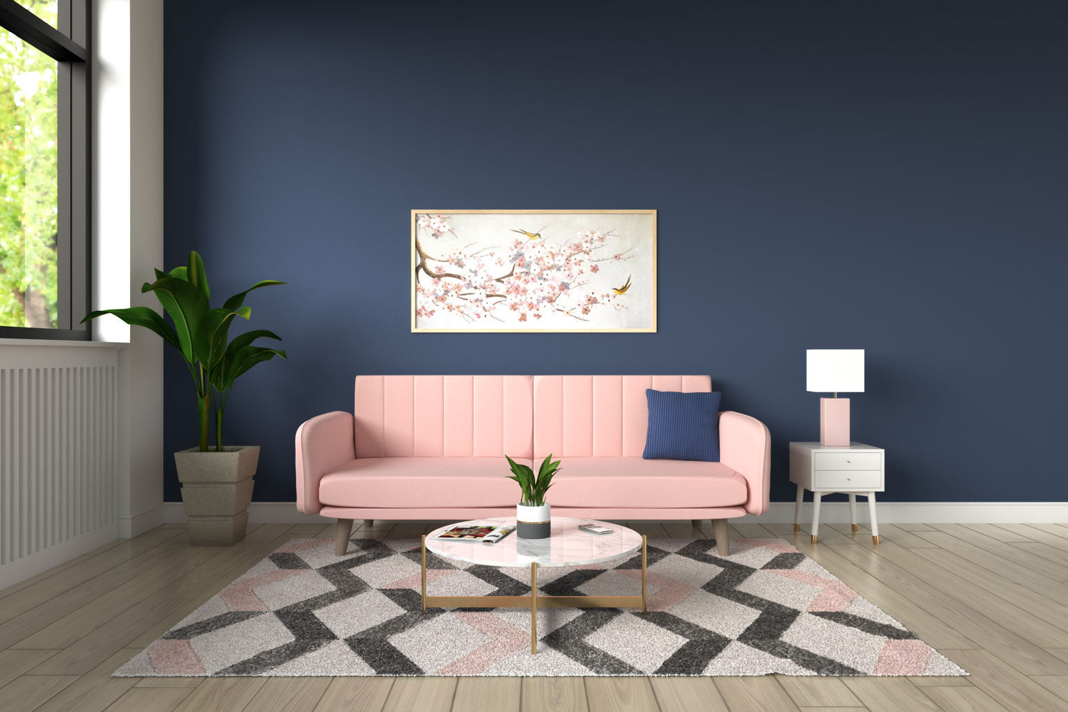 Pink couch with blue walls