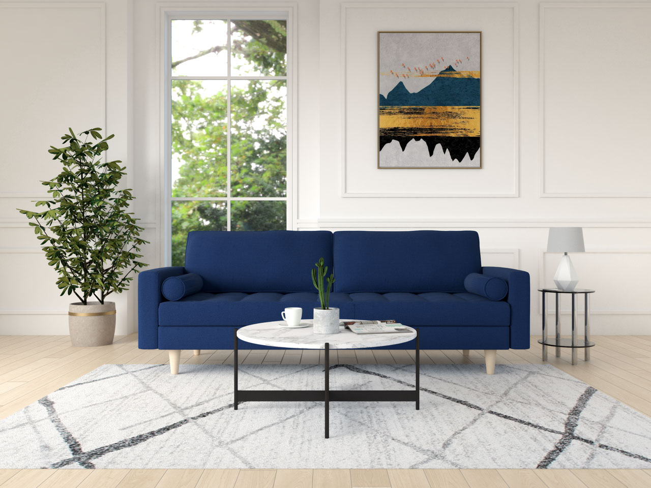 White and black round table with a blue couch
