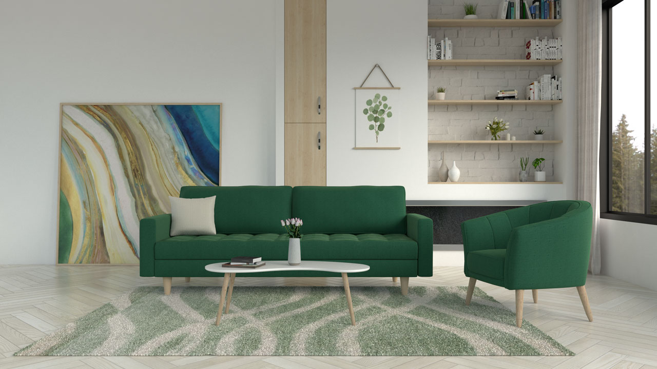 Sage rug with green couch