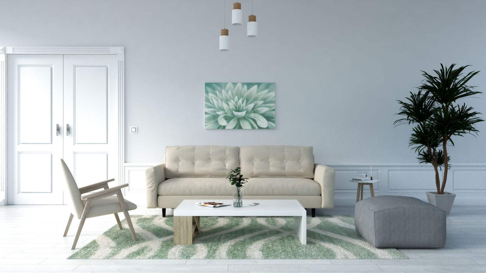 Green and cream rug with beige couch