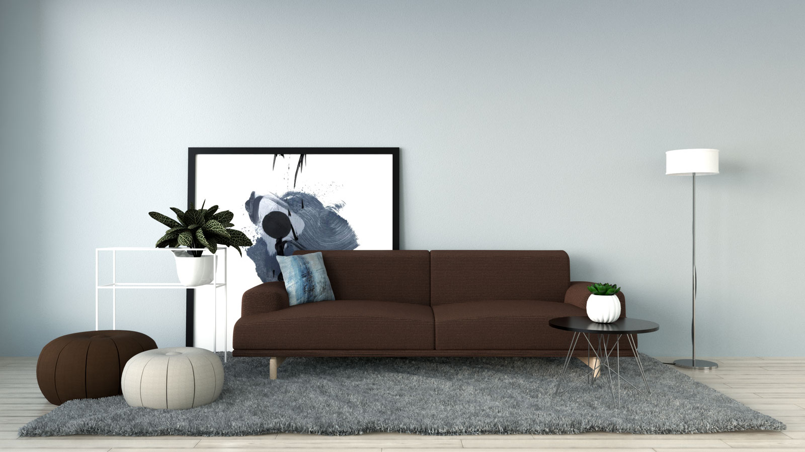 Silver mist wall with brown sofa